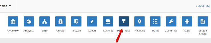 これを行うには、CloudFlareアカウントのページルールに移動します。